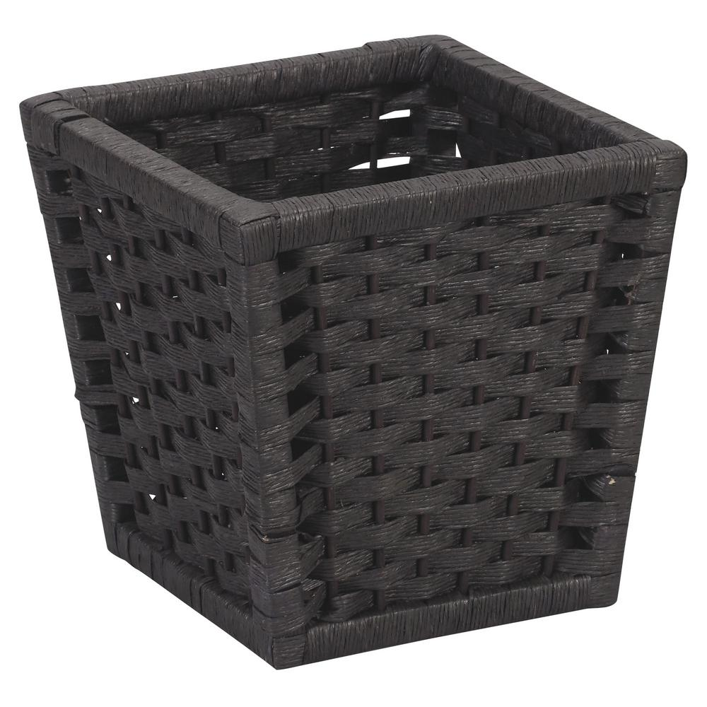 Household Essentials Paper Rope Indoor Waste Basket In Black Stained