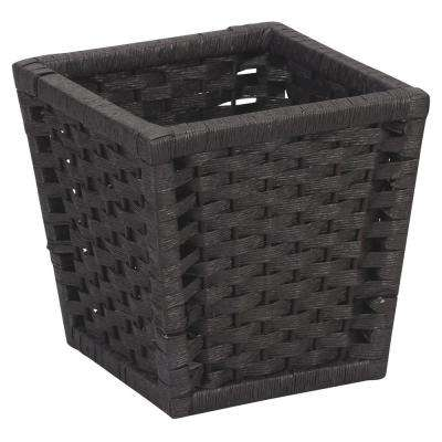 Paper Rope Indoor Waste Basket in Black Stained