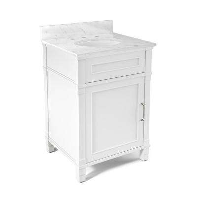 Williamsburg 25 in. W x 22 in. D Vanity in White with Marble Vanity Top in White with White Basin