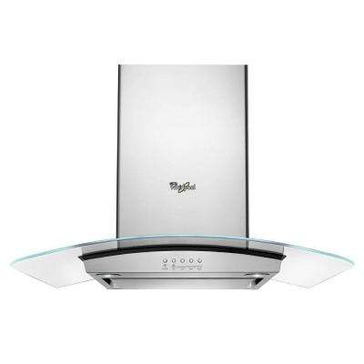 36 in. Modern Glass Island Mount Range Hood in Stainless Steel