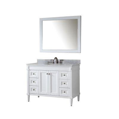 Tiffany 49 in. W Bath Vanity in White with Marble Vanity Top in White with Square Basin and Mirror