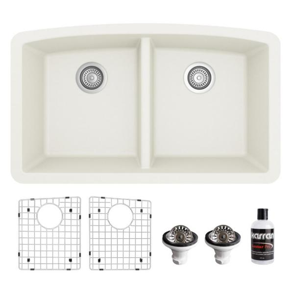 QU-710 Quartz/Granite Composite 32 in. Double Bowl 50/50 Undermount Kitchen Sink with Grids & Basket Strainers in White