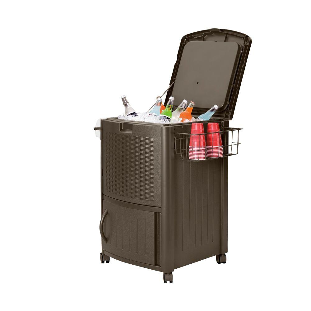 Cooler With Cabinet 77 Qt. Resin Wicker Patio Rolling Party Rattan Beverage  Ice