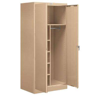 36 in. W x 78 in. H x 24 in. D Combination Storage Cabinet Unassembled in Tan