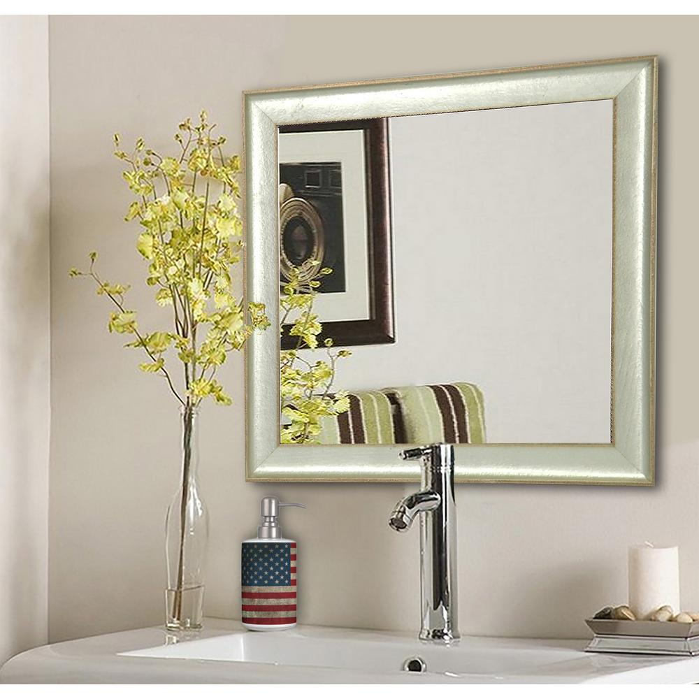 27.5 in. x 27.5 in. Vintage Silver Square Vanity Wall Mirror
