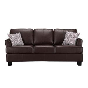 Signature Home Gracie Brown Faux Leather Hide-A-Bed Sofa ...
