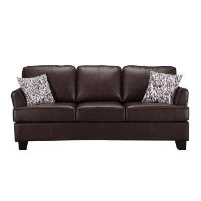 Gracie Brown Faux Leather Hide-A-Bed Sofa Sleeper (Queen Size)