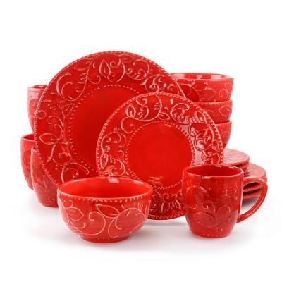 Cassis 16-Piece Red Dinnerware Set (Service Set For 4)