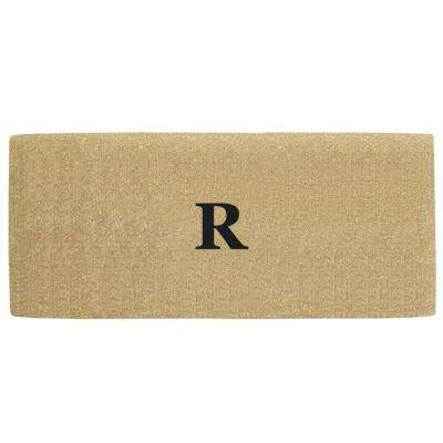 No Border 36 in. x 72 in. Heavy Duty Coir Monogrammed R Door Mat
