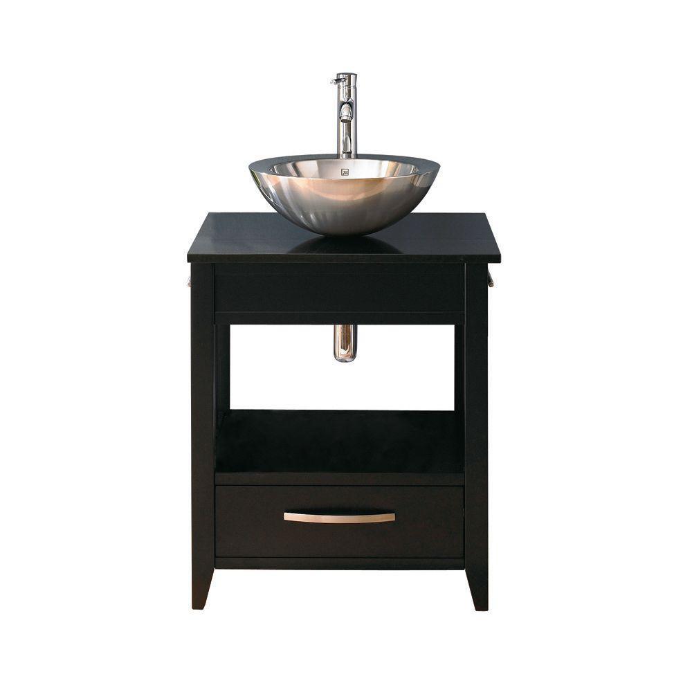 Ambrosia 24 in. W x 20 in. D x 28.50 in. H Vanity in Espresso with Granite Vanity Top in Black