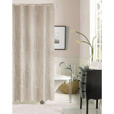 Woodbury 72 in. Taupe Printed Fabric Shower Curtain