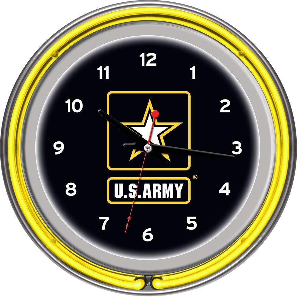 Trademark Global 14 in. U.S. Army Chrome Double Ring Neon Wall Clock