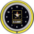 14 in. U.S. Army Chrome Double Ring Neon Wall Clock