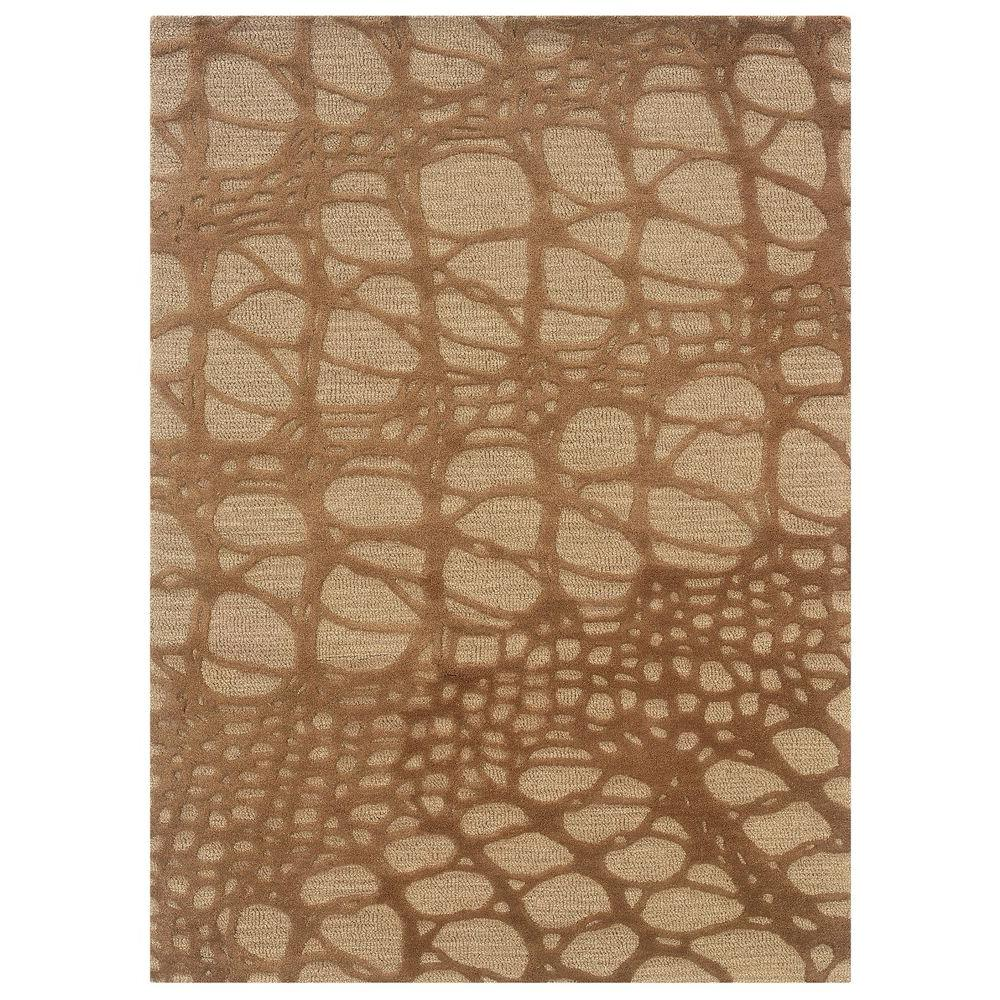 Linon Home Decor Florence Collection Ivory and Pale Gold 1 ft. 10 in. x 2 ft. 10 in. Indoor Area Rug