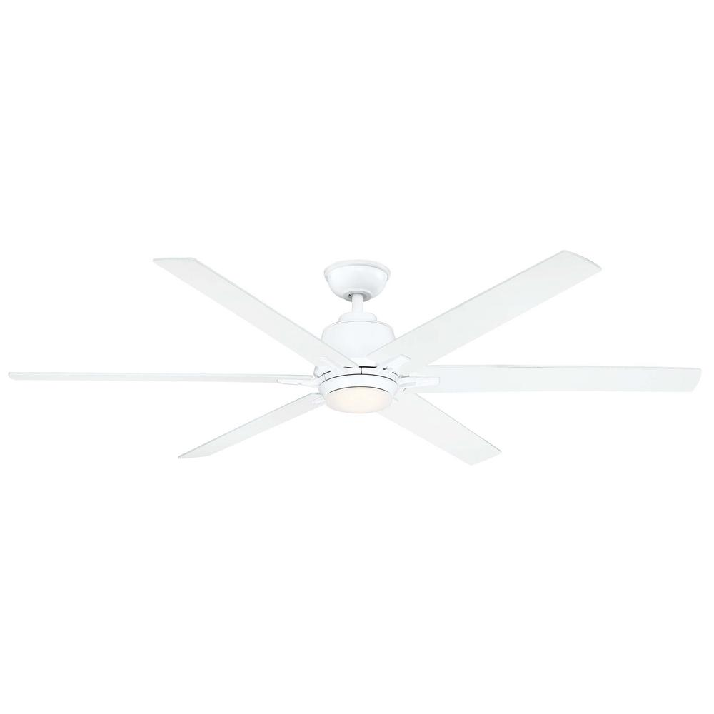 Home Decorators Collection Kensgrove 64 in. LED White Ceiling Fan works with Google Assistant and Alexa