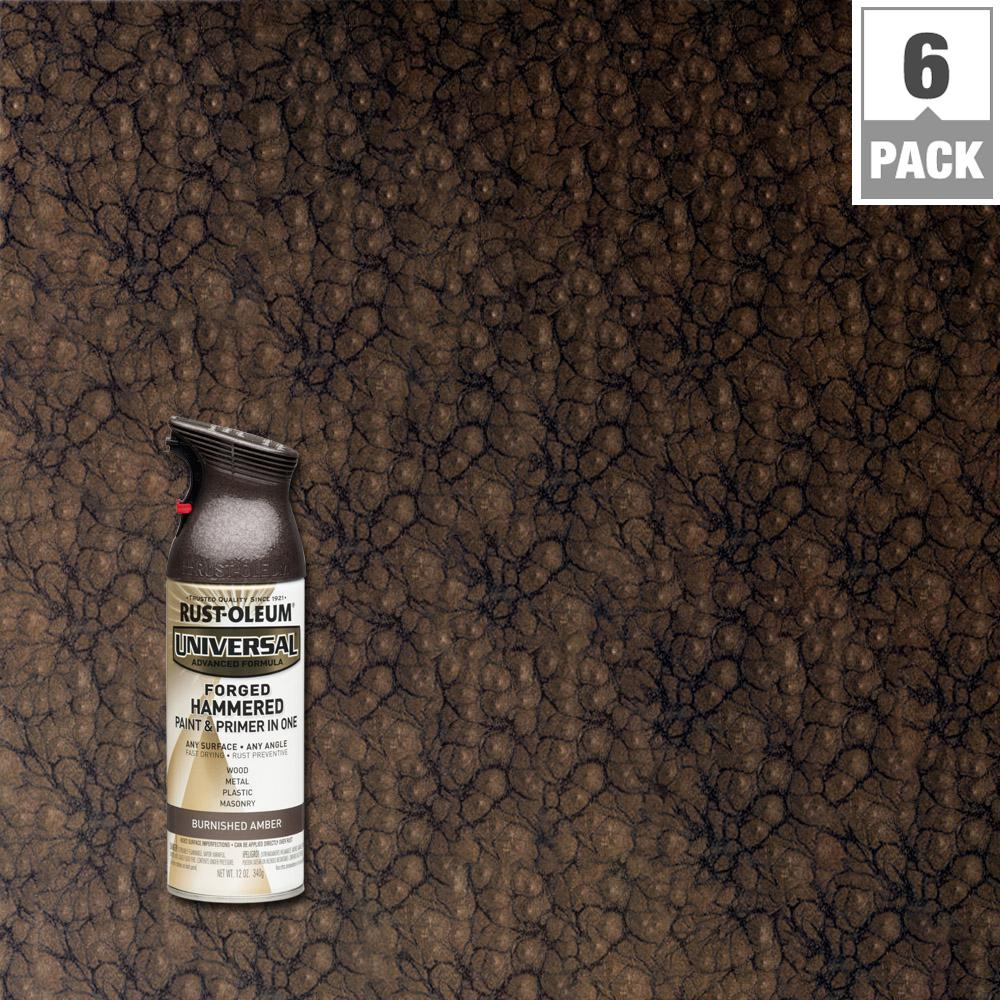 Rust-Oleum Universal 12 oz. All Surface Forged Hammered Burnished Amber Spray Paint and Primer in One (6-Pack)