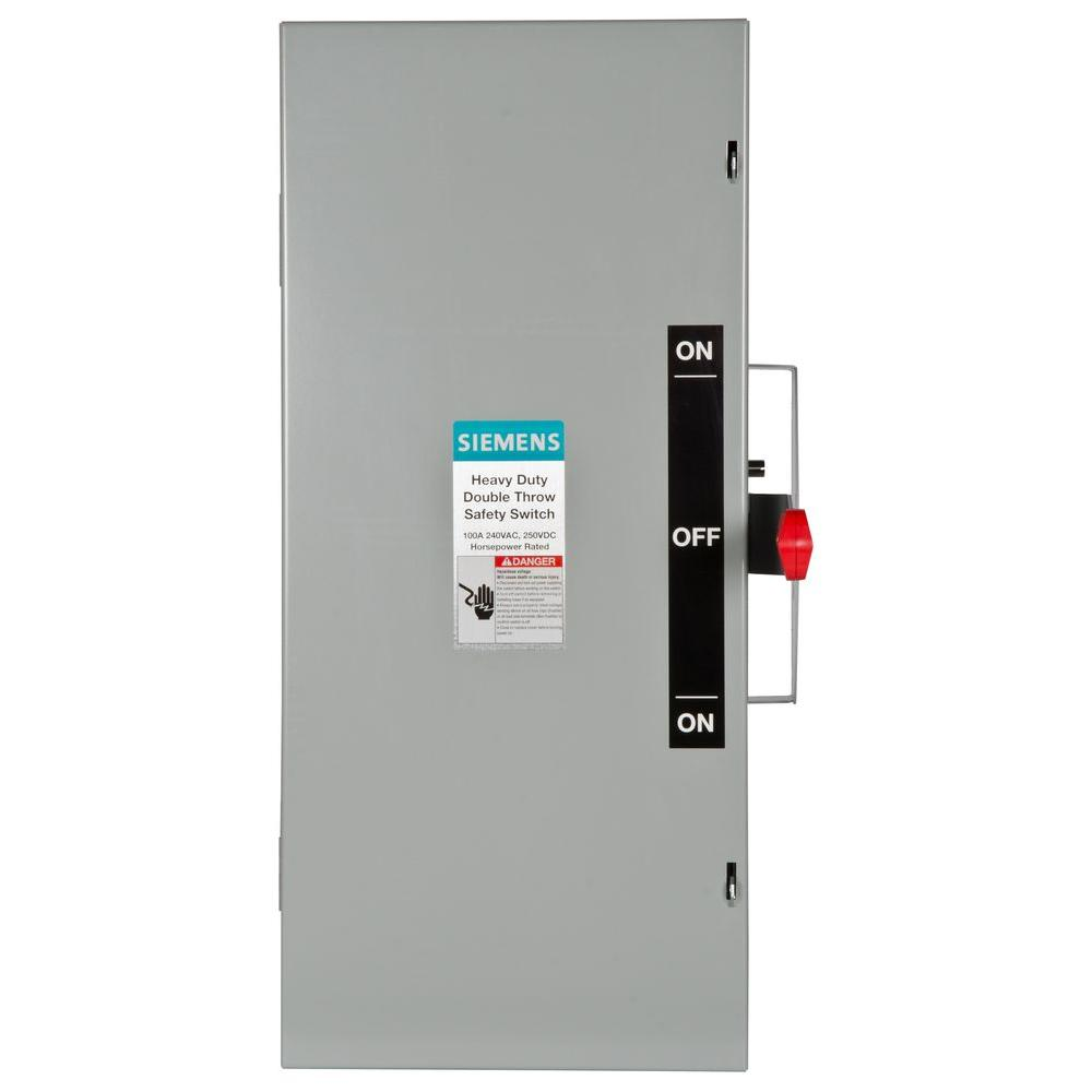 Siemens Double Throw 100 Amp 240-Volt 3-Pole Indoor Non-Fusible ...