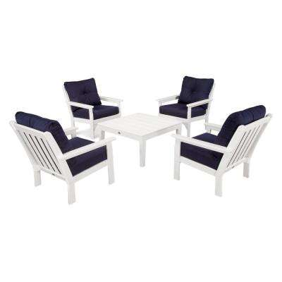 Vineyard White 5 Piece Plastic Patio Conversation Set With Sunbrella Navy  Cushions