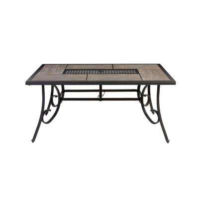 Crestridge Steel Rectangular Outdoor Patio Dining Table With Tile Top