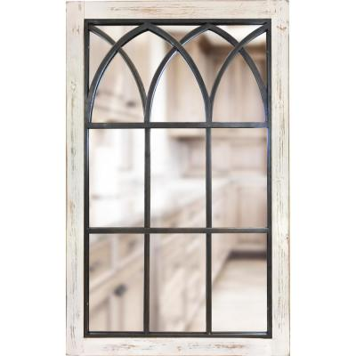 37.5 in. x 24 in. Rectangle White Vista Arched Window Mirror