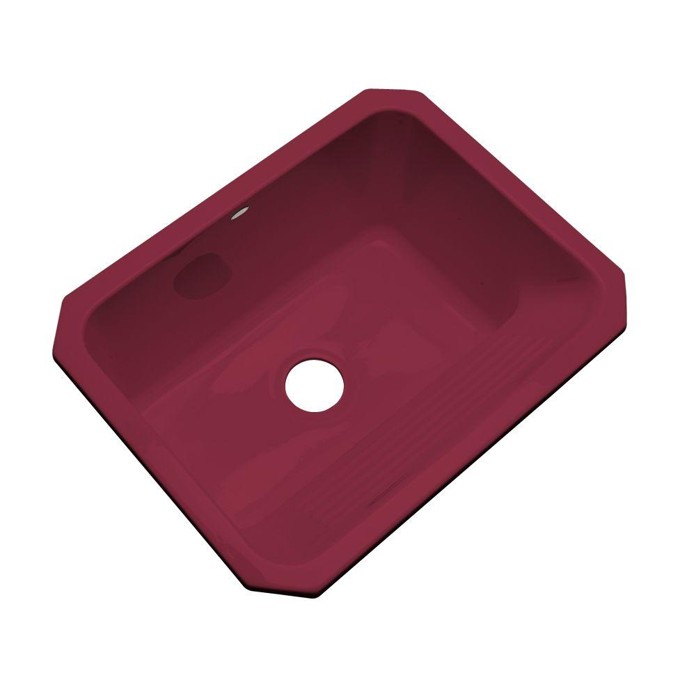 Thermocast Kensington Undermount Acrylic 25x19.5x12 in. 0-Hole Single Bowl Utility Sink in Ruby