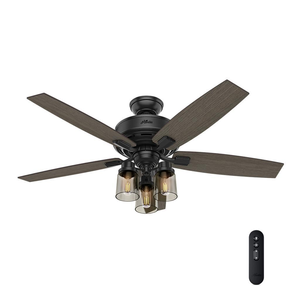 Hunter Bennett 52 in. LED Indoor Matte Black Ceiling Fan with 3-Light Kit and Handheld Remote Control