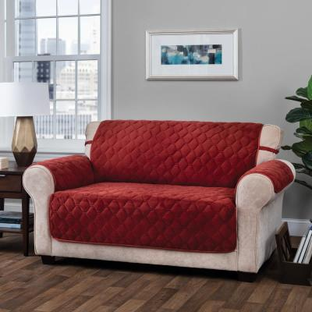 Logan Micro Velvet Sofa Burgundy Furniture Cover Slipcover