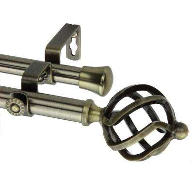 66 in. - 120 in. Double Telescoping Curtain Rod in Antique Brass with Twist Finial