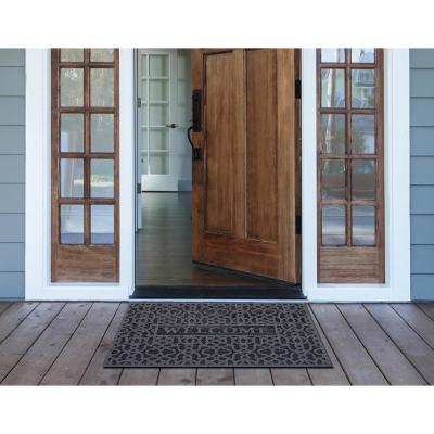 Geo Welcome Charcoal 24 in. x 36 in. Door Mat