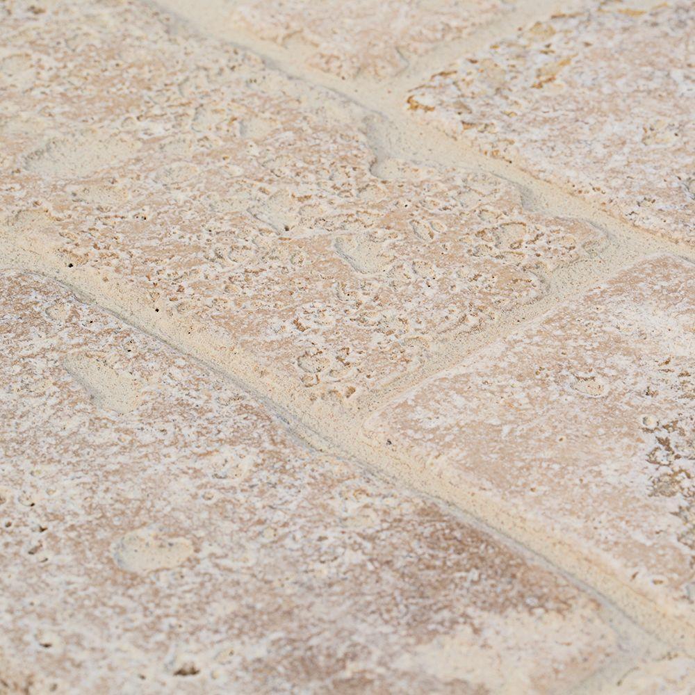 Light Travertine Beige/Cream 3 in. x 6 in. Tumbled Travertine Wall Tile (8-Pack)