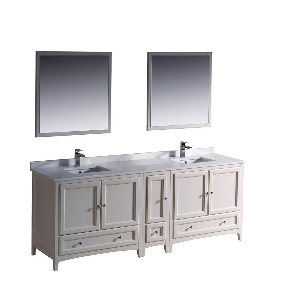 Fresca Oxford 84 in. Double Vanity in Antique White with Ceramic Vanity Top in White and Mirror with Side Cabinet