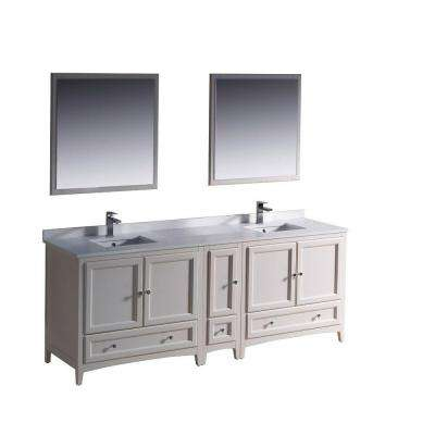 Oxford 84 in. Double Vanity in Antique White with Ceramic Vanity Top in White and Mirror with Side Cabinet