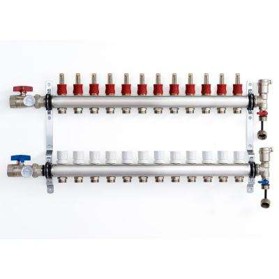 1 in. NPT Inlet x 1/2 in.  Stainless Steel Compression Connection 12-Outlet Radiant Heating Manifold