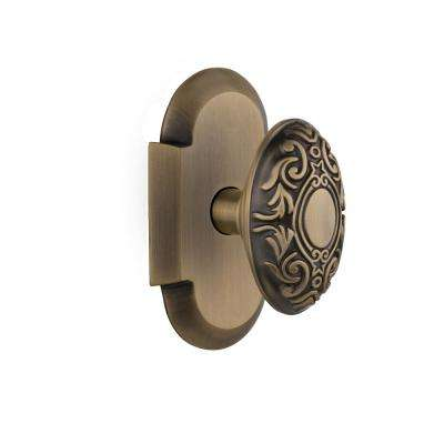 Cottage Plate Double Dummy Victorian Door Knob in Antique Brass
