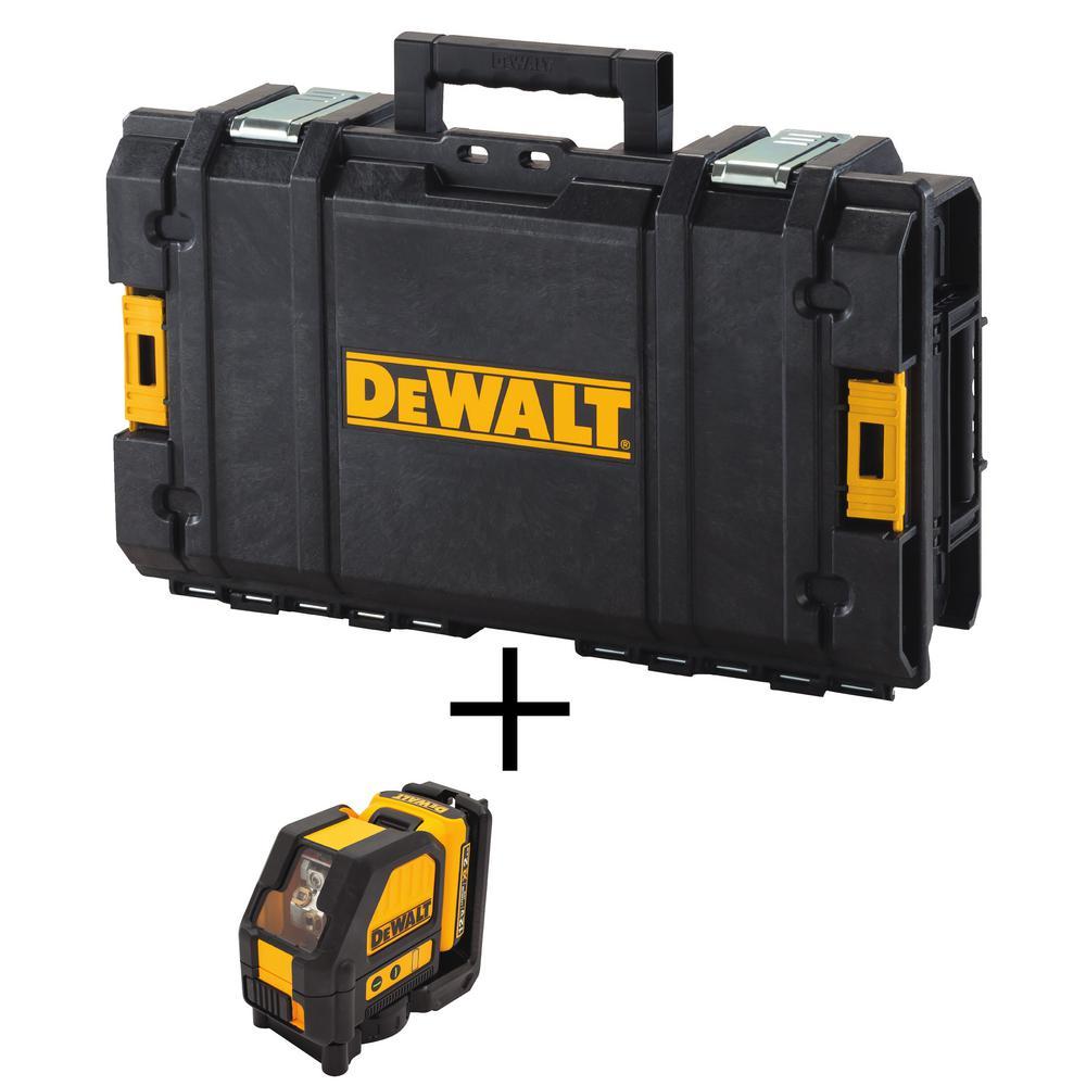 12-Volt MAX Lithium-Ion Cross Line Green Laser Level w/ 12-Volt Battery 2Ah, Charger, Case & Bonux TOUGHSYSTEM Tool Box