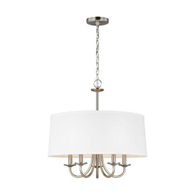 Seville 21.5 in. W 5-Light Brushed Nickel Chandelier with White Linen Shade with Dimmable Candelabra LED Bulb