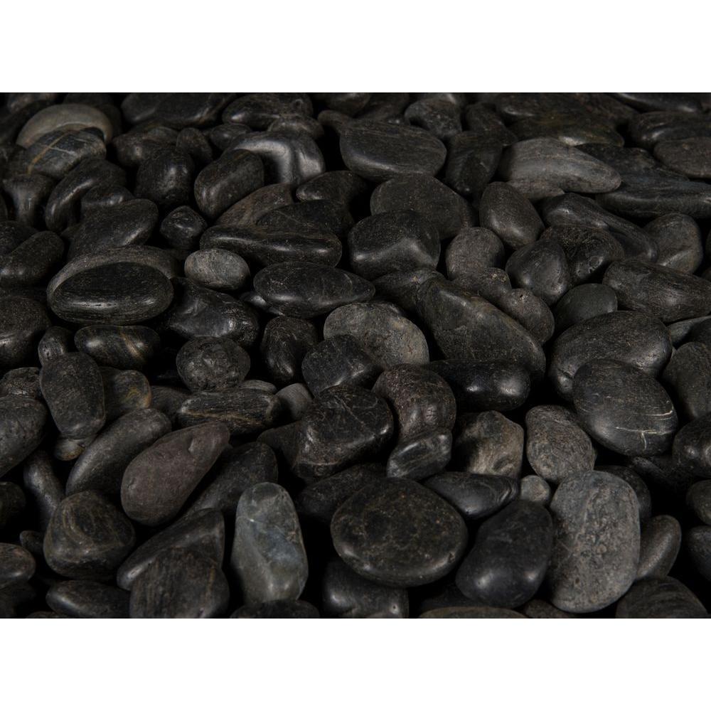 MS International 40 lb. Small Black Polished Pebbles Bag