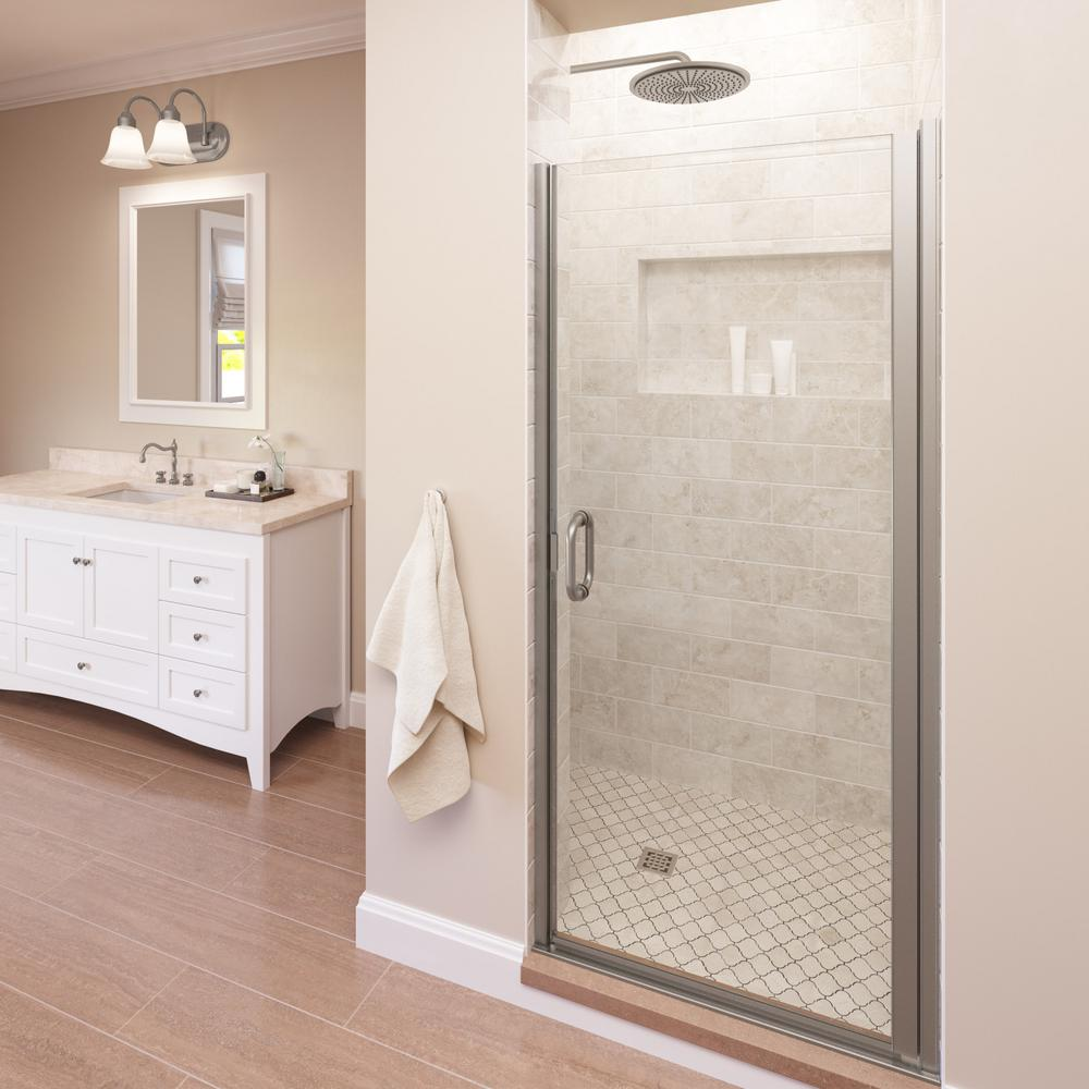 Basco Infinity 33 In X 76 In Semi Frameless Hinged Shower Door In