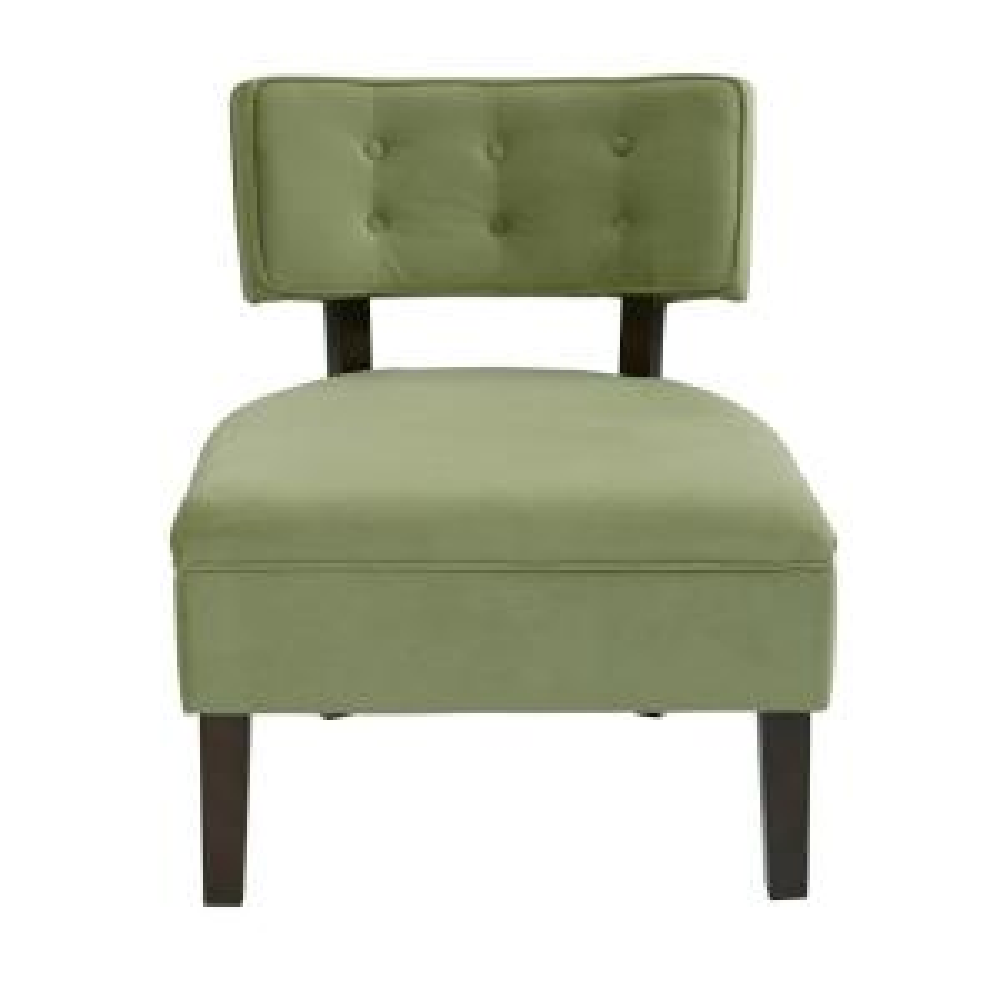Curves Spring Green Velvet Accent Chair