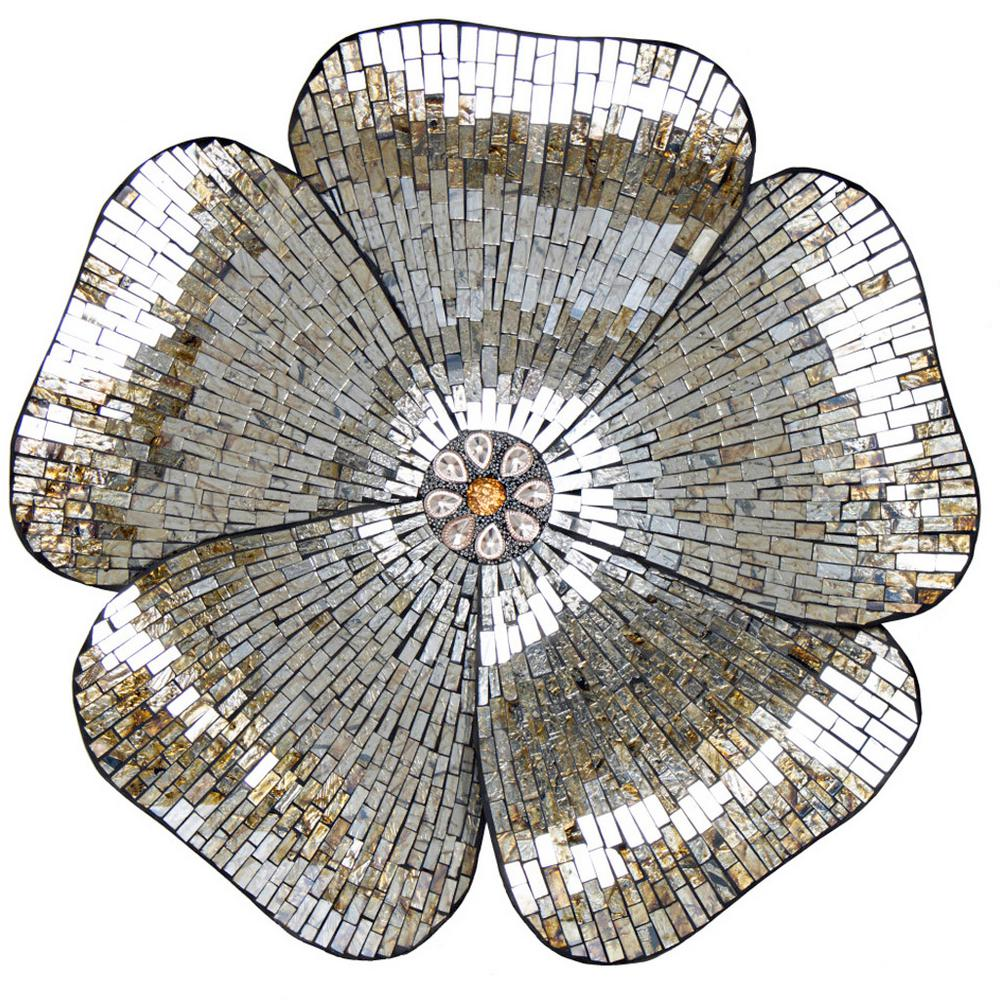 Great Home Goods Decorative Accessories River Of Goods Gold Mosaic Glass Flower  Wall Decor41 The 28