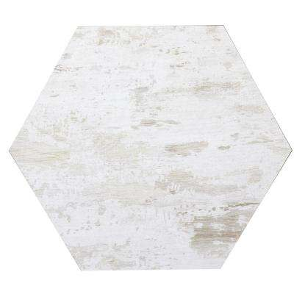 Hexagon 8 in. x 8 in. White Matte Wood Look Glass Peel & Stick Decorative Bathroom Wall Tile Backsplash (1 Piece)