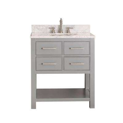 Brooks 31 in. W x 22 in. D x 35 in. H Vanity in Chilled Gray with Marble Vanity Top in Carrera White and White Basin