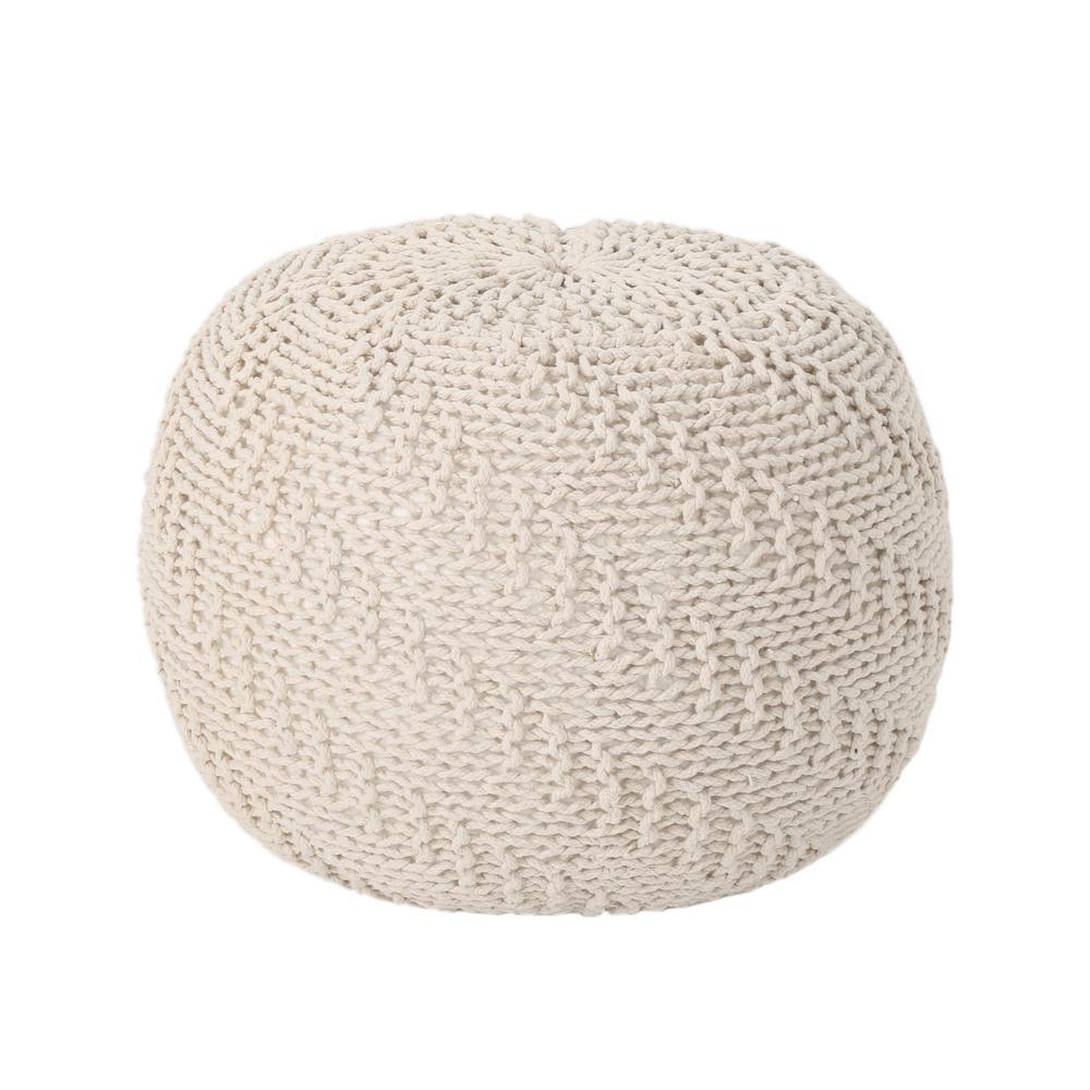 Hershel Beige Knitted Cotton Pouf