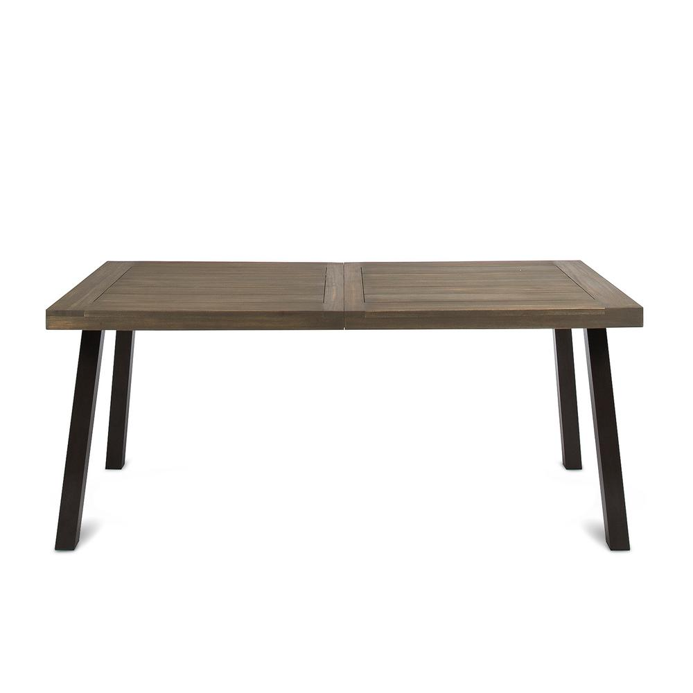 Della Rustic Metal And Gray Wood Outdoor Dining Table