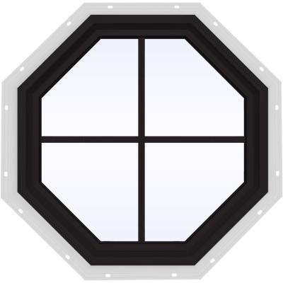 24 in. x 24 in. V-4500 Series Black FiniShield Vinyl Fixed Octagon Geometric Window with Colonial Grids/Grilles