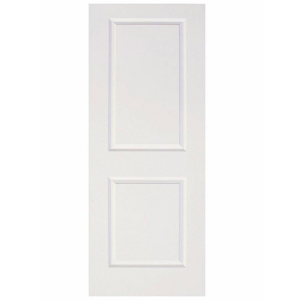 Calhome 30 in x 80 in white primed mdf raised 2 panel shaker interior door slab door 2panel for Interior wood doors home depot