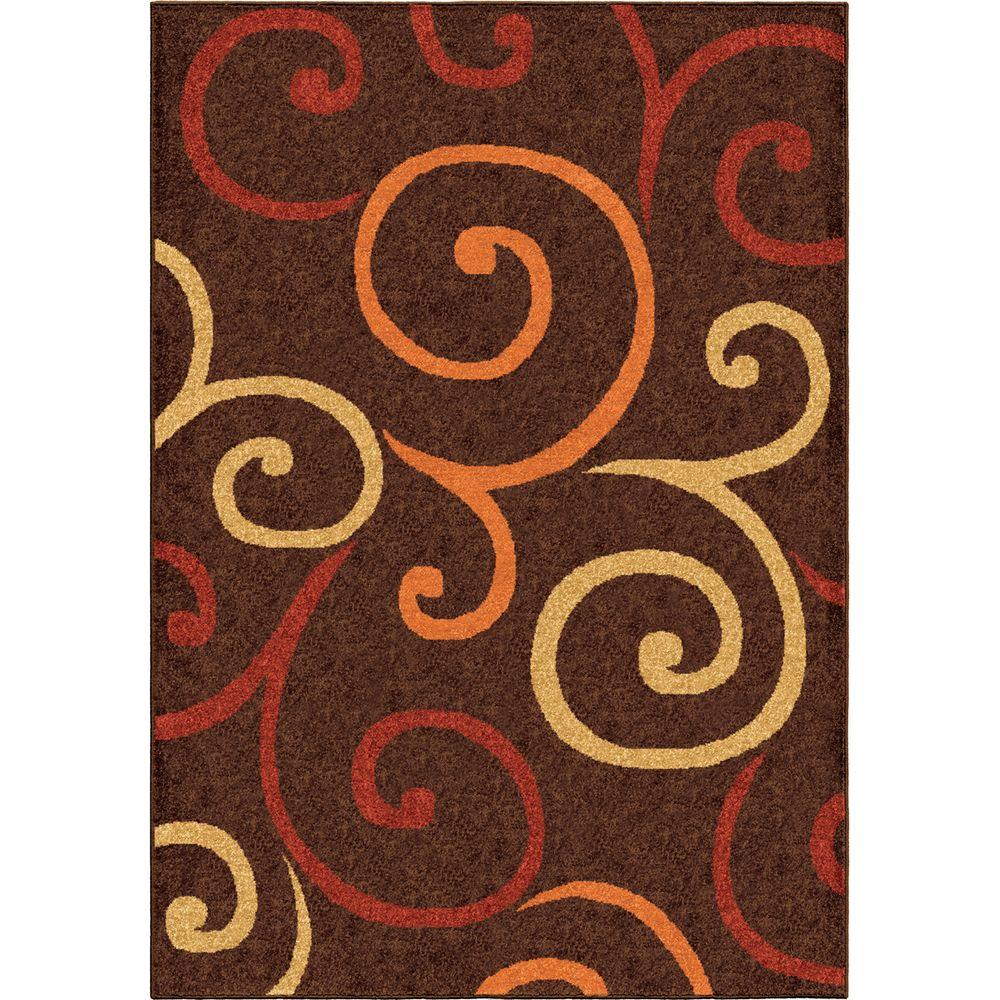 Multi Whirls Brown 5 ft. 2 in. x 7 ft. 6