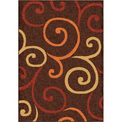 Multi Whirls Brown 8 ft. x 11 ft. Indoor Area Rug