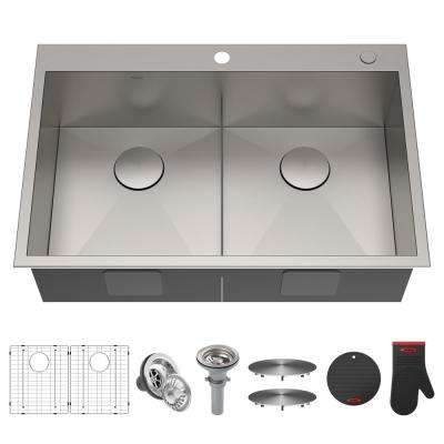 Pax Drop-In Stainless Steel 33 in. 2-Hole 50/50 Double Bowl Kitchen Sink