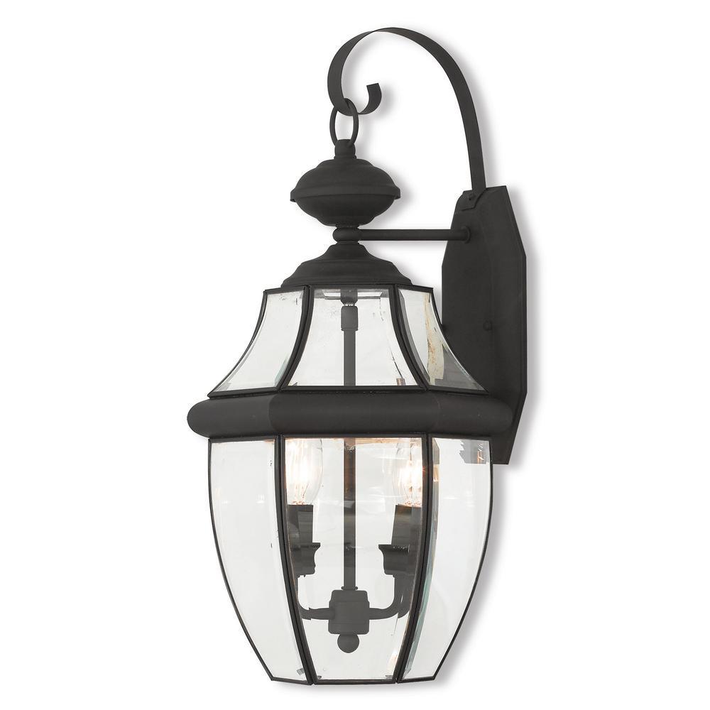 Monterey 2-Light Black Outdoor Wall Mount Lantern